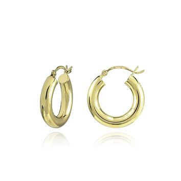14K Gold High Polished 4mm Lightweight Small Medium Large Round Hoop Earrings, All Sizes