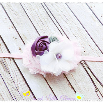 Elegant Purple Pearl Headband, Pink White Gray Headband, Newborn Prop, Infant Hair Bows, Toddler Flower Head Band, Girls Hair Clip, Baby Bow