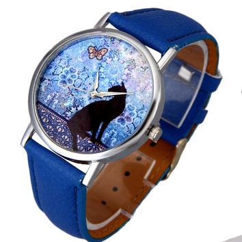 Women Dress Watch Cat Pattern Cute Printed Lady Watches Leather Band Analog Quartz Vogue Wrist Watch Bracelet CF