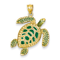 14k 3-D Enameled Sea Turtle Pendant K3305