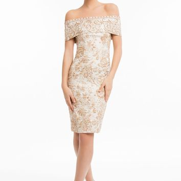 Terani Couture - 1821C7031 Off Shoulder Banded Cuff Cocktail Dress