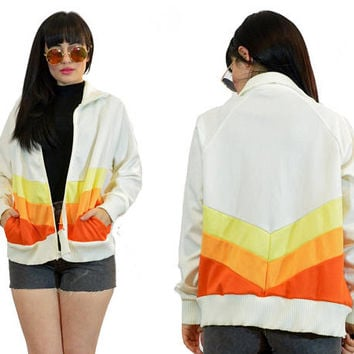 vintage 70s track jacket white + yellow + orange bomber jacet 1970s hippie boho athletic wear retro jacket small