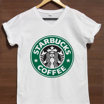 Starbucks Shirt V-neck TShirt T-Shirt Tee Shirts Women Size S,M,L,XL