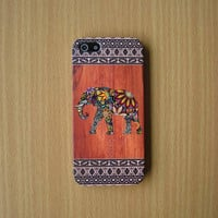 Floral Elephant Wood Print iPhone Case Aztec Wood Print Phone Case iPhone 5S iPhone 5 iPhone 5C Samsung Galaxy S4 iPhone Plastic case iPhone