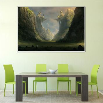 Abstract Oil Painting on Canvas Wall Pictures Fantasy Poster Vintage Castle Forest Animals Wall Art Mountain Home Decor Cuadros