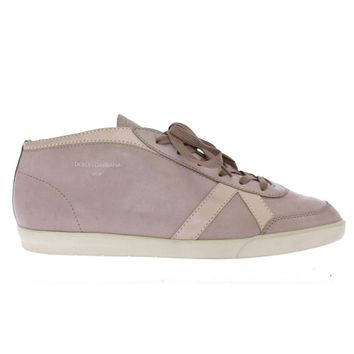 Dolce & Gabbana Gray Leather Casual Sport Sneakers Shoes