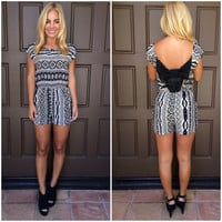 Off Topic Aztec Print Romper - BLACK & IVORY