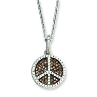 Sterling Silver & CZ Brilliant Embers Coffee Peace Sign Necklace QMP807