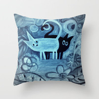 cats in blue  Throw Pillow by Marianna Tankelevich