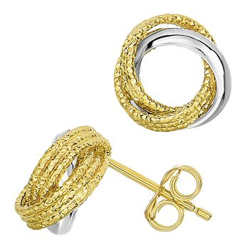 14k Two Tone Gold Shiny And Textured Open Infinity Knot Stud Earrings, 10mm