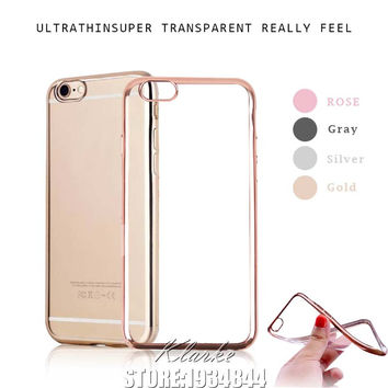 Luxury Ultra Thin Clear Crystal Rubber Plating Electroplating TPU Case Cover For iPhone 6 6s 7 Plus Transparent Cell Phone Cases