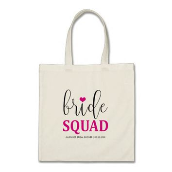 "Hot Pink ""Bride Squad"" Bridal Shower Tote"