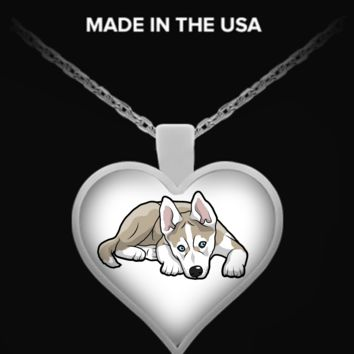 Siberian Husky Heart Necklace heartsibhusky