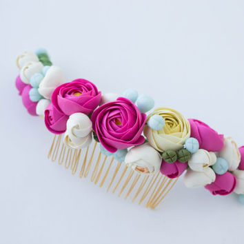 White Pink Blue RanunculusBridal hair comb.Wedding hair comb. Bridal hairpiece