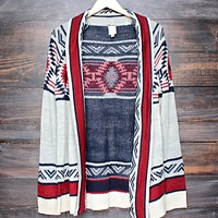 mod lightweight tribal cardigan aztec in rust