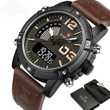 Mens Army Style Dual Movement Pilot Watch