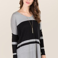 Tayler Striped Dolman Pullover Sweater