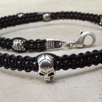 Gothic Skull Necklace:  Black Leather Men's Necklace, Goth Unisex Macrame Jewelry