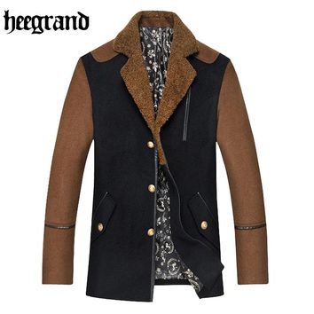 HEE GRAND Men's Solid Blend Double Breasted Collar Casual Wool Coat