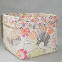 Lovely Muted Floral Fabric Basket