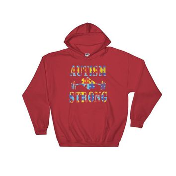 Autism Awareness Shirt - Gift for her Autism Strong Support Puzzle Piece & Weights Educational TShirt Proud Mom Hooded Sweatshirt