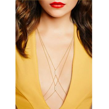 Fashion simple sexy cross - chain pearl necklace body chain