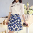 White Plaid Shirt with Floral Skirt