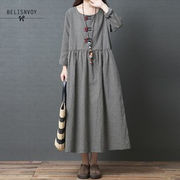 Autumn New Vintage Loose Fashion Cotton And Linen Long Sleeve Knee-length Plaid Women Dresses Ethnic Style Clothes