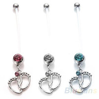 Flexible Pregnancy Maternity Belly Navel Bar Ring Body Piercing Baby Feet = 1946544772