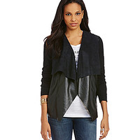 MICHAEL Michael Kors Faux-Leather-Front Cardigan - Black