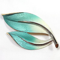 Teal Blue Leaf Brooch Vintage Leaves Ombre Gold Tone Pin Retro p309