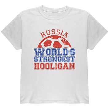 World Cup World's Strongest Hooligan Russia Youth T Shirt