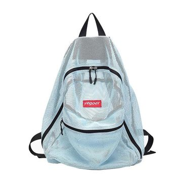 Candy Color Transparent Mesh Beach Shoulder Backpack for Teenage Girls Summer Foldable Swimming Storage Bag Female PINK XA565WD