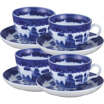 Blue Willow Set of 4 Porcelain Teacups and Saucers