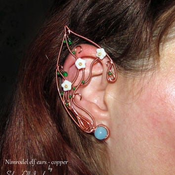 Nimrodel elf ears - copper, LOTR Elf Ears, elven ears, elf ear cuff, elf ear wrap, Cosplay jewelry, copper elf ears