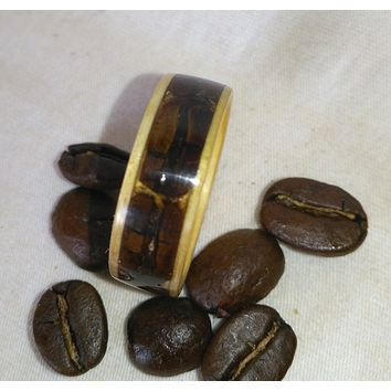 Coffee Beans and Hardwood Bentwood Ring