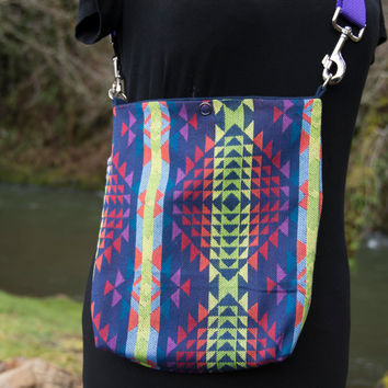 Woven, Poncho, Native American Pattern Mini Messenger Bag