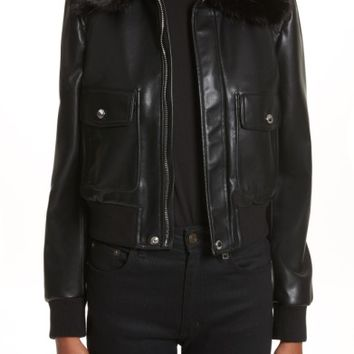 Givenchy Faux Leather Jacket with Faux Fur Collar | Nordstrom