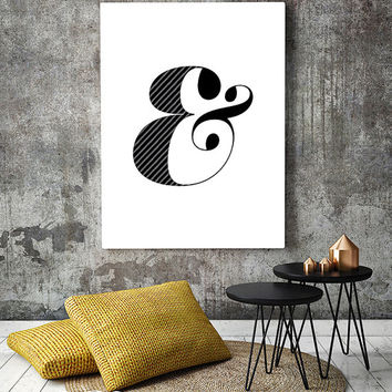Ampersand print, minimalist art poster, scandinavian print, minimalist wall decor, modern wall art, nordic design,black and white,simple art