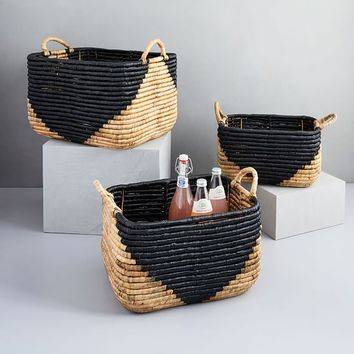 Woven Seagrass Baskets - Natural/Black
