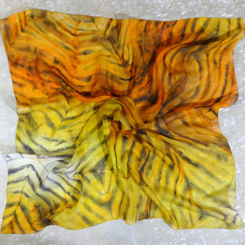 "Hand-painted silk square scarf ""Tiger Style"". Designer's Watercolor Summer Chiffon Shawl. Yellow Orange Black Pattern. Ready. 70x70cm 28x28"""