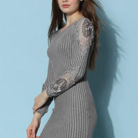 Crochet Sleeves Fitted Knit Dress in Grey Grey