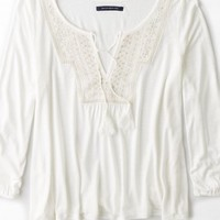 AEO Women's Embroidered Boho Shirt (Natural White)
