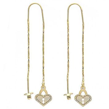 Gold Layered 02.65.2513 Long Earring, Heart and Lock Design, Polished Finish, Golden Tone