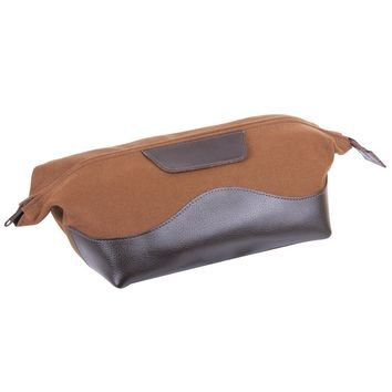 Leather & Canvas Wash Bag Brown