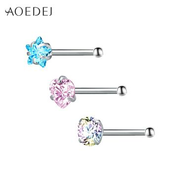 AOEDEJ 3 Pcs 1 Lot 20g Heart Crystal Nose Studs Piercing Nose Rings Stainless Steel Body Piercing Jewelry For Women Colored