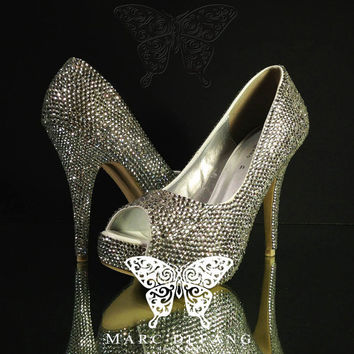 Fine 3mm Clear Crystal Luxury Peep Toe Heels by MDNY on Etsy