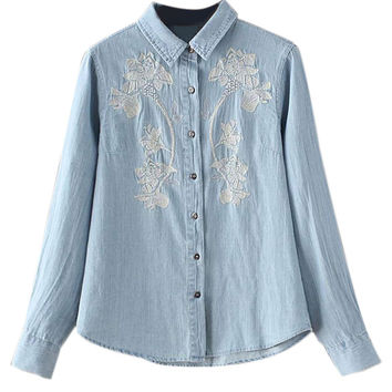 Light Blue Embroidered Floral Detail Denim Shirt