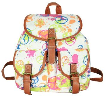 Cute World Peace Print School Bag Canvas Casual Backpack Daypack