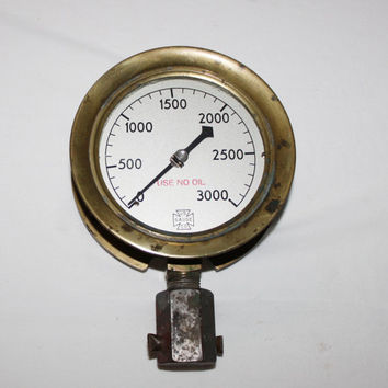 Antique Solid Brass US Gauge Company 3000 PSI Pressure Gauge